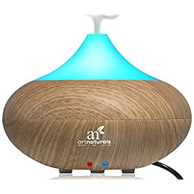 ArtNaturals Essential Oil Diffuser and Humidifier - Electric Cool Mist Aromatherapy Aroma Diffuser - Therapeutic Spa Fragrance For The Whole House - Auto Shut-off & 7 Color LED Lights Changing