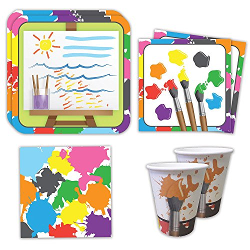 Art Party Standard Party Packs (65+ Pieces for 16 Guests!), Paint Party Supplies, Painting Birthday, Decorations (Artist Birthday Party Decorations)