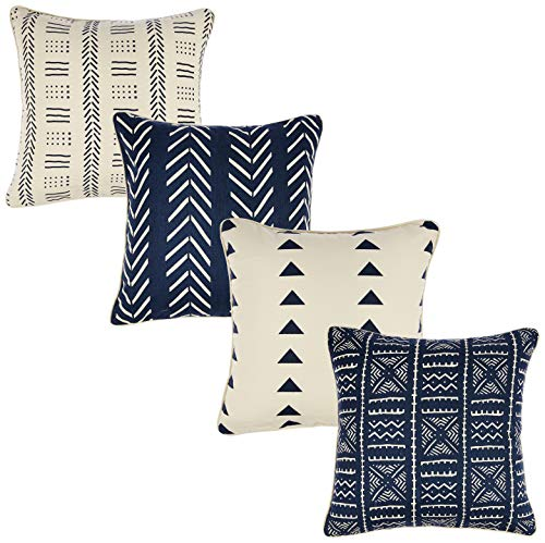 Redearth Decorative Square Printed Throw Pillow Covers Woven Cushion Cases Set for Couch, Sofa, Bed, Farmhouse, Chair, Dining, Patio, Outdoor, car; 100% Cotton (18x18; Indigo) Pack of - Chair Dining Cushions Canvas
