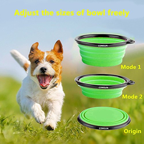 Comsun-4-pack-Collapsible-Dog-Bowl-Food-Grade-Silicone-BPA-Free-Foldable-Expandable-Cup-Dish-for-Pet-Cat-Food-Water-Feeding-Portable-Travel-Bowl-Blue-Green-Yellow-Orange-Free-Carabiner