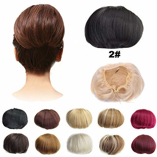 Hair Drawstring (FESHFEN Bridal Hair Bun Updo Scrunchy Scrunchie Hairpiece Wig Hair Ribbon Ponytail Extensions Clips Straight Drawstring Hair Chignons Topknot Knot-2# Darkest Brown Near Black)