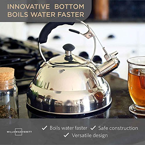 Tea Kettle - Surgical Whistling Teapot with Capsule Bottom and Mirror Finish, 2.75 Quart Tea Pot - Stove Top Tea Maker Infuser Teapots Strainer Included (Single Handle)