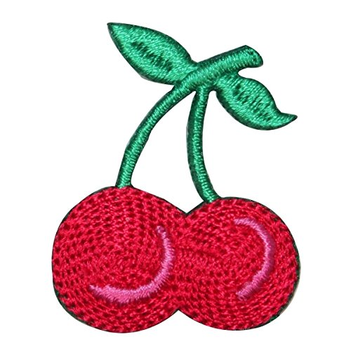 ID 1182Z Double Cherries On Stem Patch Fruit Tattoo Embroidered Iron On - Priority Tracking Mail International Express