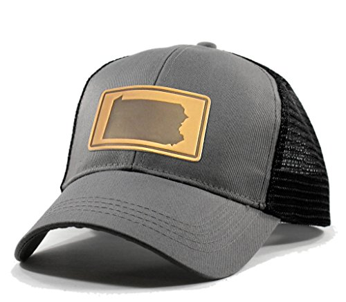 Pittsburg State Cap (Homeland Tees Men's Pennsylvania Leather Patch Trucker Hat - Grey)