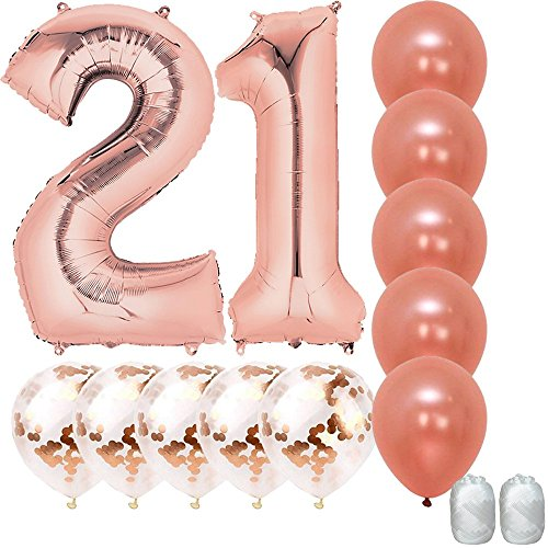 Jumbo 40 inch Mylar Foil Rose Gold Balloon Number 21, with 5 Confetti Balloons and 5 Rosegold Latex Balloons and Bonus String for Happy Birthday Party Supplies||