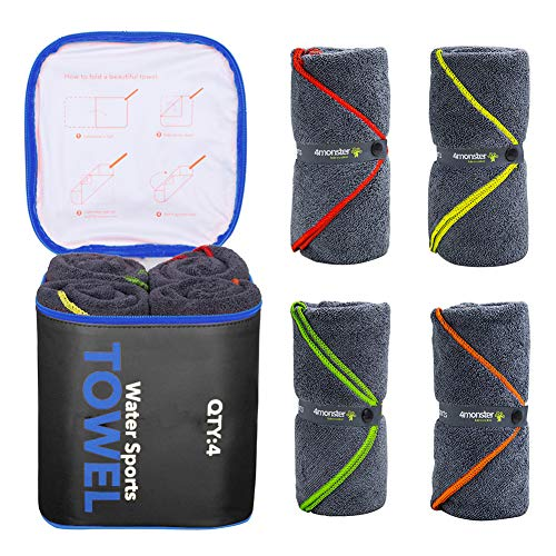 4Monster 4 Pack Microfiber Bath Towel Camping Towel Swimming Towel Sports Towel with Accessory Bag, Quick Dry  Super Absorbent for Travel Gym, Suitable for Adults Kids Family, 24 X 48 Inch