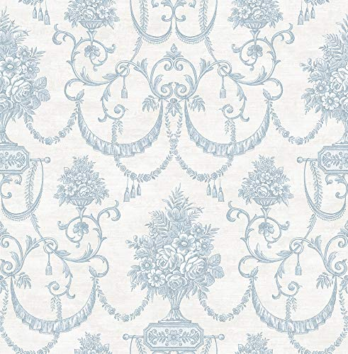 Bouquet Swag Wallpaper in Classic Blue MM50301 by Wallquest ()