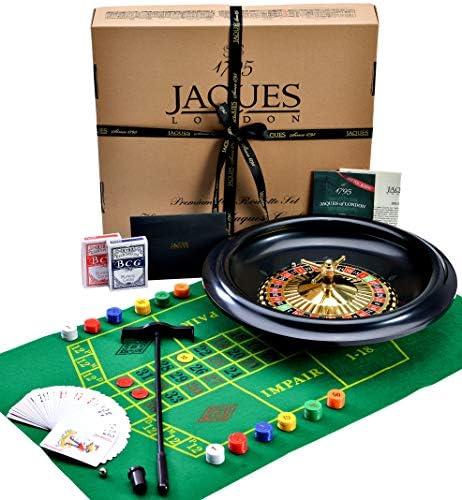 Jaquest of London - Roulette Set - 16 Inch Schwarzbuchse Roulette-Spiel (2 von 1) mit Black Jack Tischmatte und Spielrad - Perfekter traditioneller Spielsatz und Spiele seit 1795