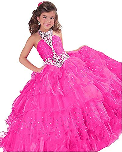 Oudy Little Girls Ball Gowns Pageant Dress Crystal Beaded Ruffles Party Gowns for Girls 7-16 US 4 Hot Pink -