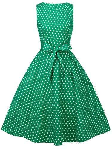 FAIRY COUPLE 50s Vintage Retro Floral Cocktail Swing Party Dress with Bow DRT017(L, Green Small White Dots)