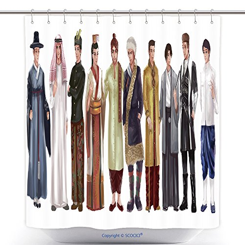 Custom Shower Curtains Cartoon Illustration Of Asian Male Man Traditional Religion And National Costume Dress Clothing 357508559 Polyester Bathroom Shower Curtain Set With Hooks