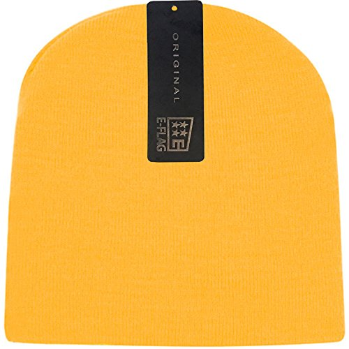 E-Flag Women/Men Basic Solid Color Warm Knit Ski Snowboarding Beanie Hat (Gold) (Gold Knit Beanie)