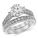 14K White Gold 2.03 CTW Round Cut Three Stone Vintage With Milgrain & Filigree Bridal Set with Wedding Band & Diamond Engagement Ring, J Color VS1-VS2 Clarity Center Stone