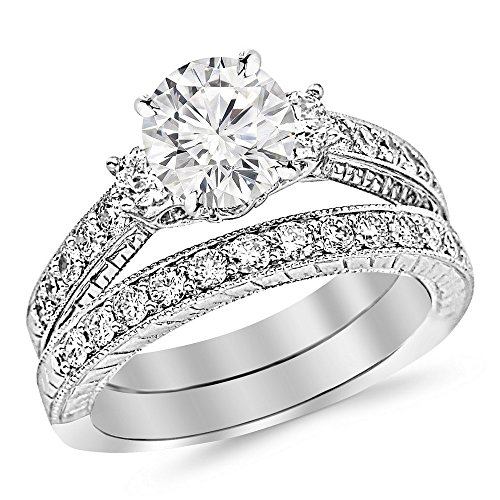 14K White Gold 1.53 CTW Round Cut Three Stone Vintage With Milgrain & Filigree Bridal Set with Wedding Band & Diamond Engagement Ring, K Color I2 Clarity, 0.5 Ct Center - Band Round Diamond Engagement Ring