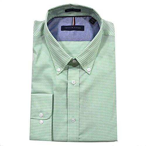 Tommy Hilfiger Men's Non Iron Slim Fit Gingham Buttondown Collar Dress Shirt, Sea Grass, 16