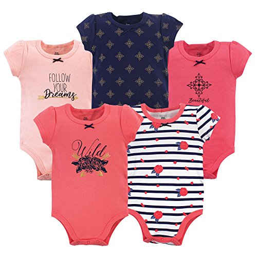 Price comparison product image Yoga Sprout Baby Cotton Bodysuits, Wild Floral 5Pk Short Sleeve, 3-6 Months (6M)