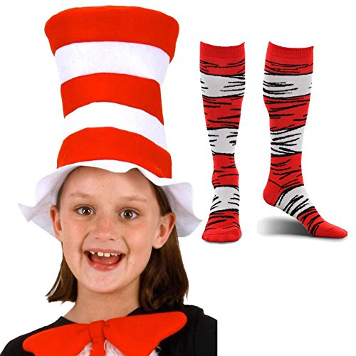 Dr Seuss Cat in the Hat Costume Accessories Bundle Set (Kids In Halloween Costumes)