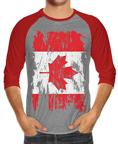 SpiritForged Apparel Distressed Canada Flag Unisex 3/4 Raglan Shirt, Red/Heather - Edmonton Fit International