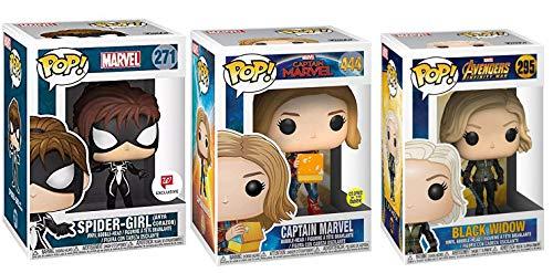 Girl Power Pop Mega Star Bundle: Spider-Girl 271 (Exclusive) + Captain Marvel 444 (Glow in The Dark) + Black Widow 295 -
