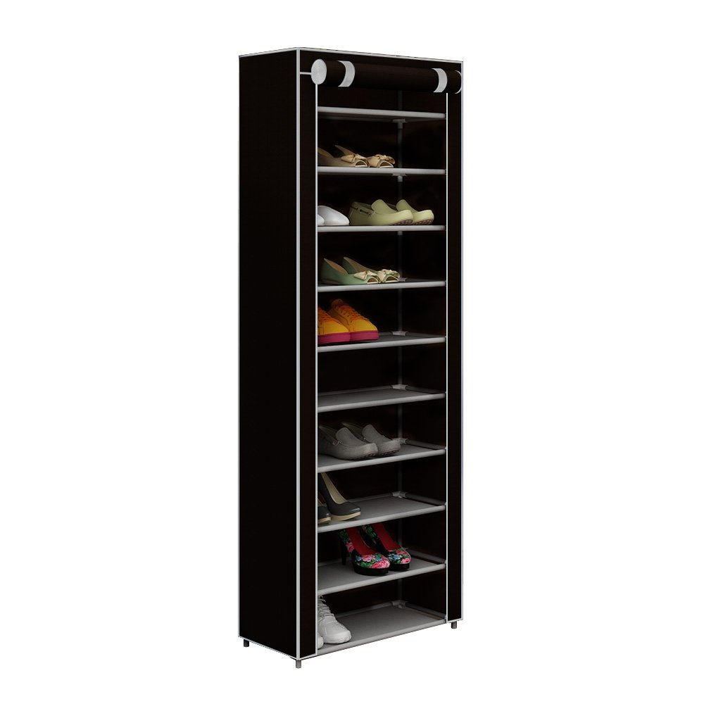 HOME BI 10 Tiers Shoe Rack with Dustproof Cover Closet, Shoe Storage Cabinet Organizer, Hold 30 Pairs of Shoes,Black