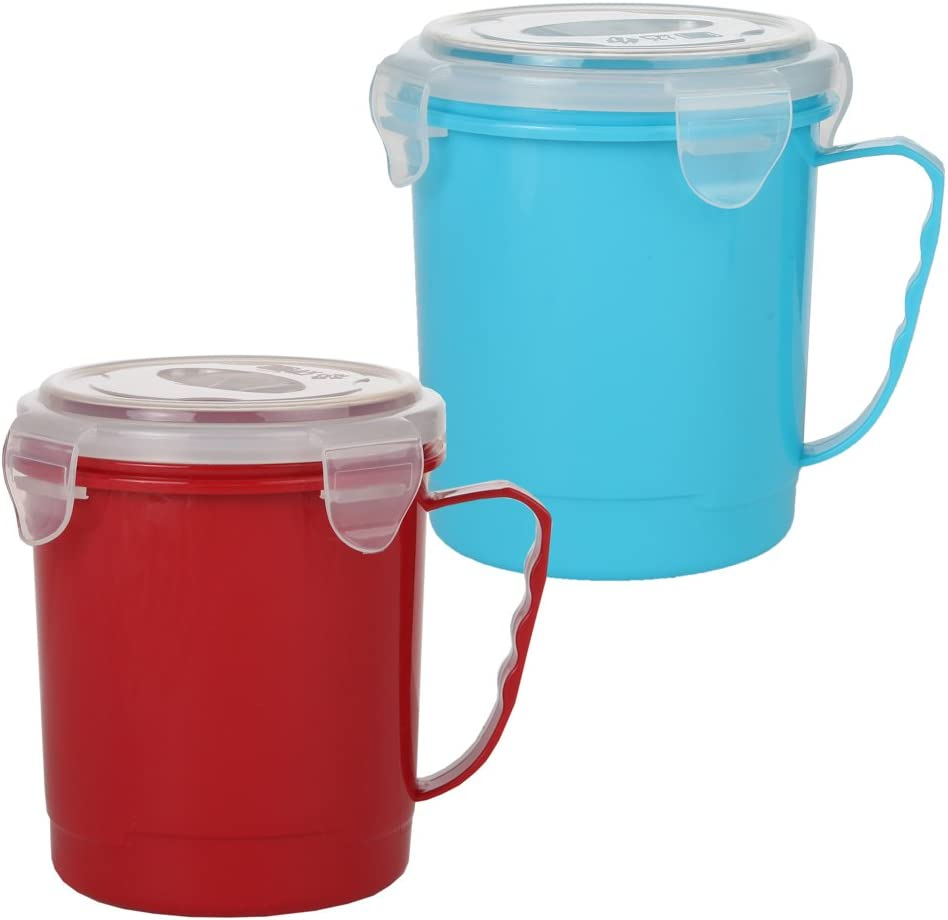 Home-X - Microwave Soup Mug Set with Secure Snap Close Vented Lids, 22 oz Mugs Allow You to Heat and Eat Soups, Noodles, Hot Cereal and More in a Single Container, Set of 2, Red and Blue