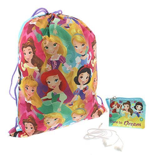 Disney Princess Girls Backpack Headphones and Coin Purse Boxed Gift Set (Princess Pink/Multi)