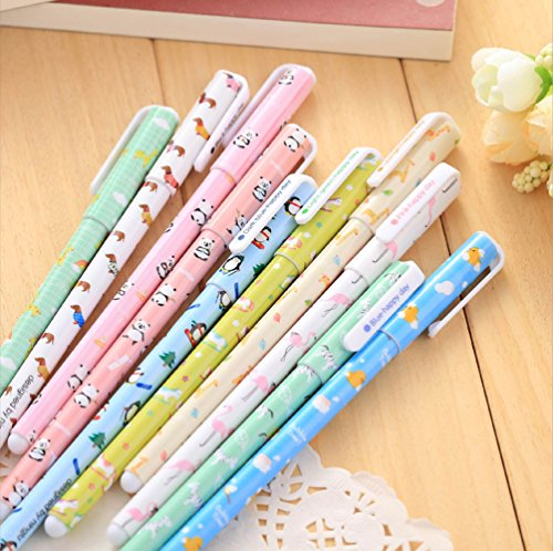 GMissT Colorful Gel Ink Pen Watercolor 0.38 mm Korean Cartoon Rollerball Pens Pack of 10 Animal Pattern (Calendar Executive Line Desk)