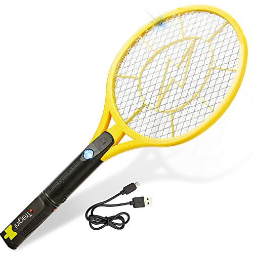 Swatter - Rechargeable Bug Zapper Tennis Racket Safe to Touch Mesh Net Built-in Flashlight - Kills Insects, Gnats, Mosquitoes Bugs (Electronic Handheld Insect Zapper)