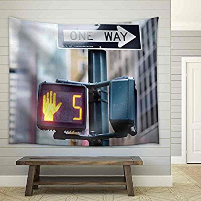 Stunning Craft, it is good, Stock Photo Don't Walk New York Traffic Sign on Blurred Background Fabric Wall
