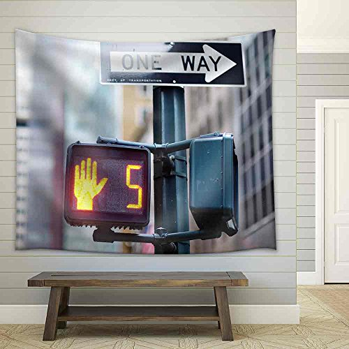Stock Photo Don'T Walk New York Traffic Sign on Blurred Background Fabric Wall Tapestry
