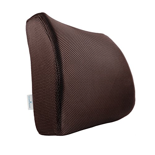 PharMeDoc Lumbar Support for Office Chair & Car Seat - Orthopedic Memory Foam Seat Cushion with Adjustable Strap includes 3D Mesh Cover - Ergonomic Lumbar Pillow Design - 13.5 x 13.5 x 4 inches - Sofa Pillow Foam