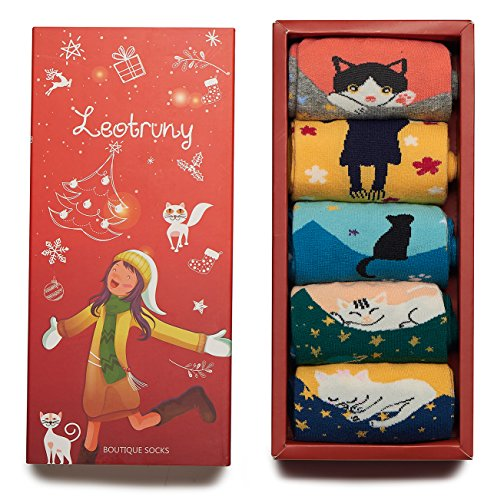 Cat Colorful (Leotruny Women's Colorful Cute Cat Cotton Socks with Gift Box (Women shoe size:5-10, 5pairs-multicolor))