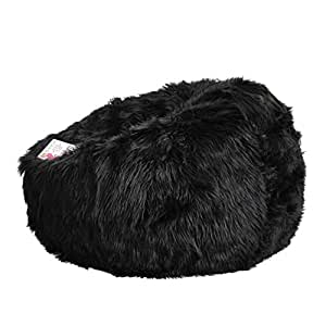 Faux Fur Bean Bag Cover - Black Lush - Top of the Range - Suitable for Bedroom, Living Room or Lounge Room