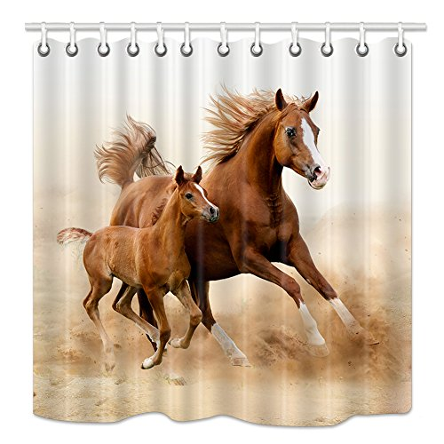 NYMB Animlas Shower Curtain Country Decor, Horses and Kids Run in Fields Farm, Mildew Resistant Fabric Bathroom Decorations, Bath Curtains Hooks in cluded, 69X70 Inches, (Horse Bathroom Shower Curtain)