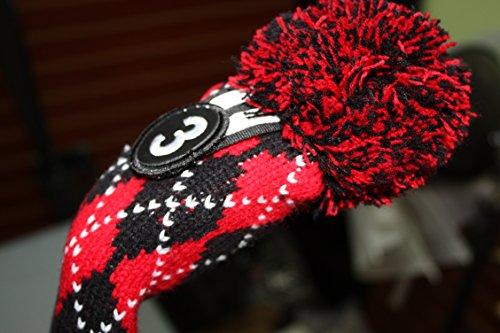 Accent Knit Pom Pom - Majek #3 Hybrid Rescue Utility Argyle Red & Black Golf Headcover Knit Pom Pom Retro Classic Vintage Head Cover