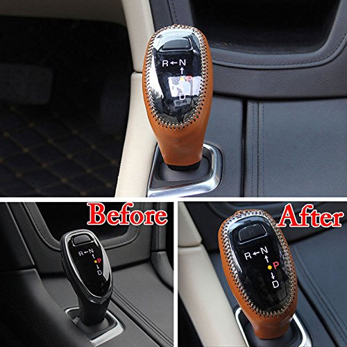 UltaPlay PU Leather A/T Car Gear Shift Knob Cover Shell Case Protector Car Interior Part Accessories Fit for Cadillac XT5 2017