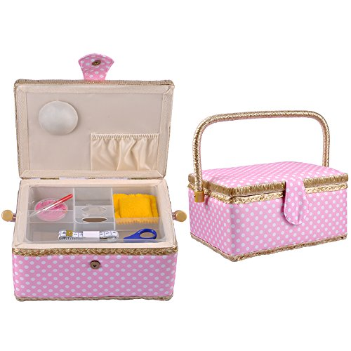 eZAKKA Sewing Basket Organizer Box Kit with Hand Sewing Supplies Dot Handmade Fabric Complete Pink Premium With Plastic Tray for Mother's Day Birthday Gift,9 x 7 x 5 inches