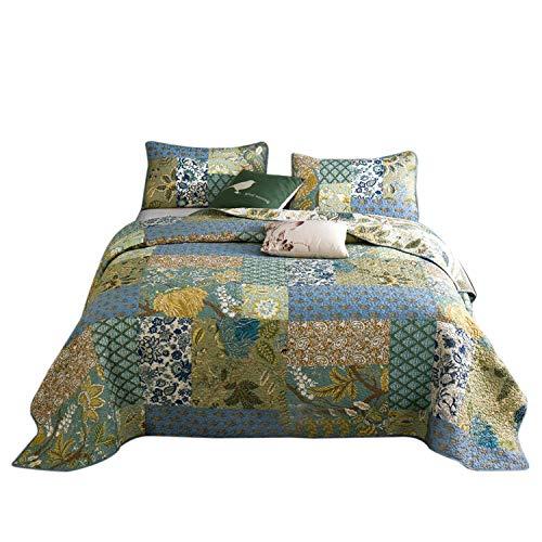 Wowelife Blue Patchwork Quilts 3 Piece Patchwork Bedspreads Handmade Cotton Quilt Sets Queen Size (Noble Blue, Queen) ()