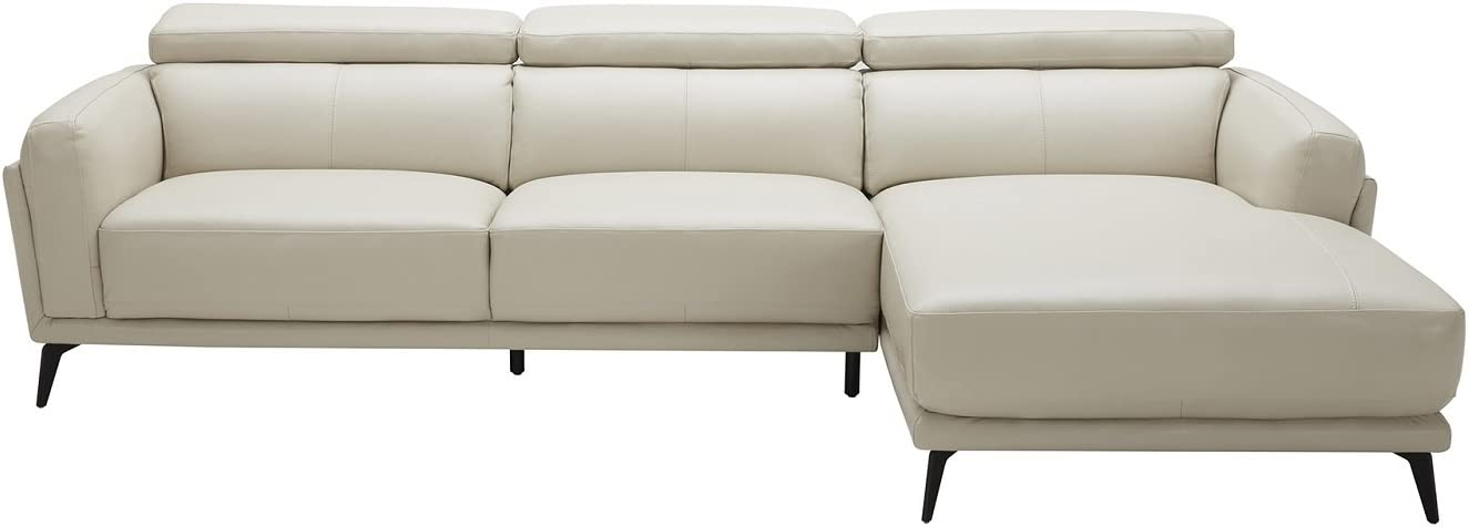 American Eagle Furniture Monroe Collection Leather Upholstered, Right-Facing Sectional, Light Grey