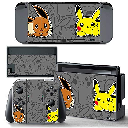 Ci-Yu-Online VINYL SKIN [NS] Eevee Pikachu STICKER DECAL COVER for Nintendo Switch Console and Joy-Con Controllers