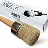 parisian wax - Chalk Paint Wax Brush - 2 in 1 Chalk Paint-Paint Brush-Professional Quality Hand Made Round Brush for Furniture-Cabinets-Dressers-Home Decor-Drill-Snowboard-Ski-Annie Sloan Paint|Bonus Free Ebook