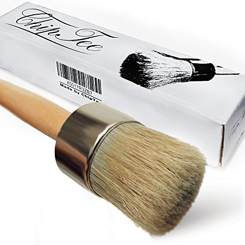Chalk Paint Wax Brush - 2 in 1 Chalk Paint-Paint Brush-Professional Quality Hand Made Round Brush for Furniture-Cabinets-Dressers-Home Decor-Drill-Snowboard-Ski-Annie Sloan Paint|Bonus Free (Old Antique Etching)