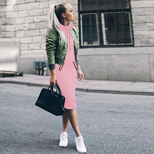 de Robe d'hiver Rose robe Mini Amlaiworld Femme chemise Pull Manches longues Robe wxfYrfq1I