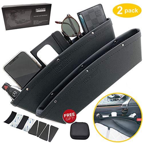 Inovare Designs Black Gap Filler Premium PU Full Leather Console Pocket Organizer, Interior Accessories, Car Seat Side Drop Caddy Catcher (Gap Filler Complete)