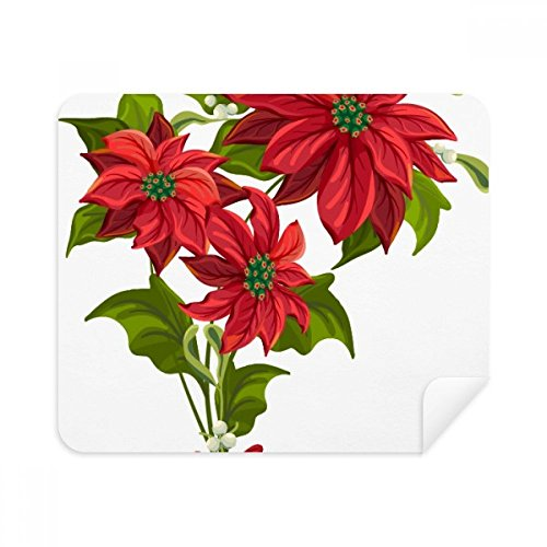 Christmas Flower Poinsettia Bouquet Red Phone Screen Cleaner Glasses Cleaning Cloth 2pcs Suede Fabric