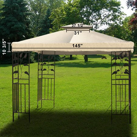 """Ivory 12 Square Feet Garden Canopy Gazebo Replacement Vent Net Top Two Tiers Design Outdoor Patio Shade Waterproof Polyester Cover 145"""" Sq. Tent Heavy (2 Top Vent)"""