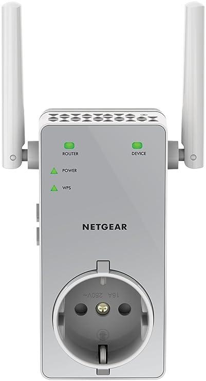 Netgear EX3800-100PES AC750 Universal WLAN Repeater (inkl. Steckdose, RJ-45, 750Mbit/s, An/Aus Schalter) Weiß/silber