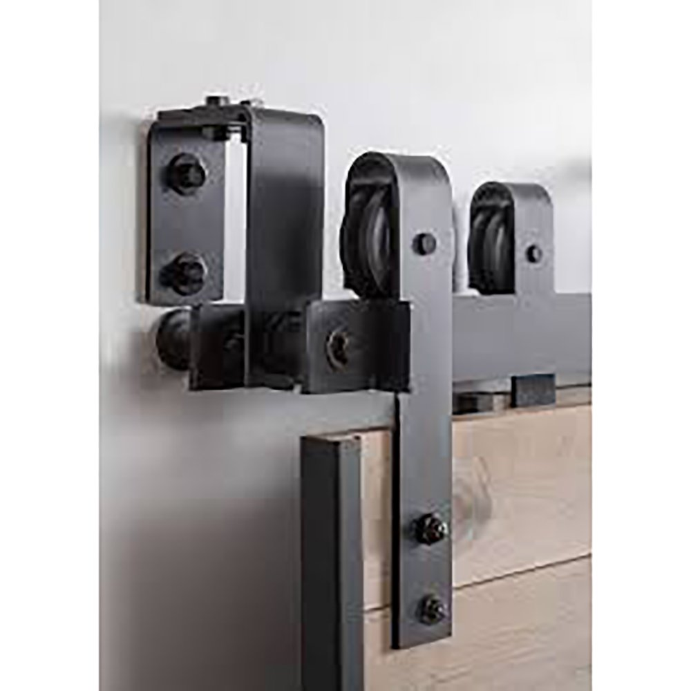 WINSOON New Bending Room Wall Mount Bypass Double Black Sliding Wood Door Roller Hardware Track Pulley Folding Steel Kit (6FT / Two Door Set) by WINSOON (Image #4)