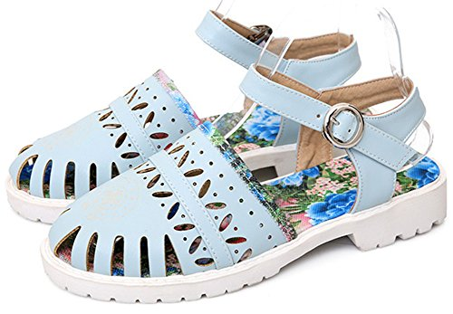 Closed Sandals IDIFU Women Blue Gladiator Toe Shoes A0P5Bqw