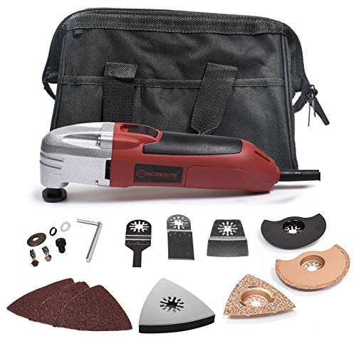 i- Purpose Oscillating Tool Kit with Carbide Grout Blade, Half Moon Saw Blade, Triangular Carbide Grit Rasp Blade, Rigid Scraper Blade, Triangular Sanding Pad and Carry Bag ()